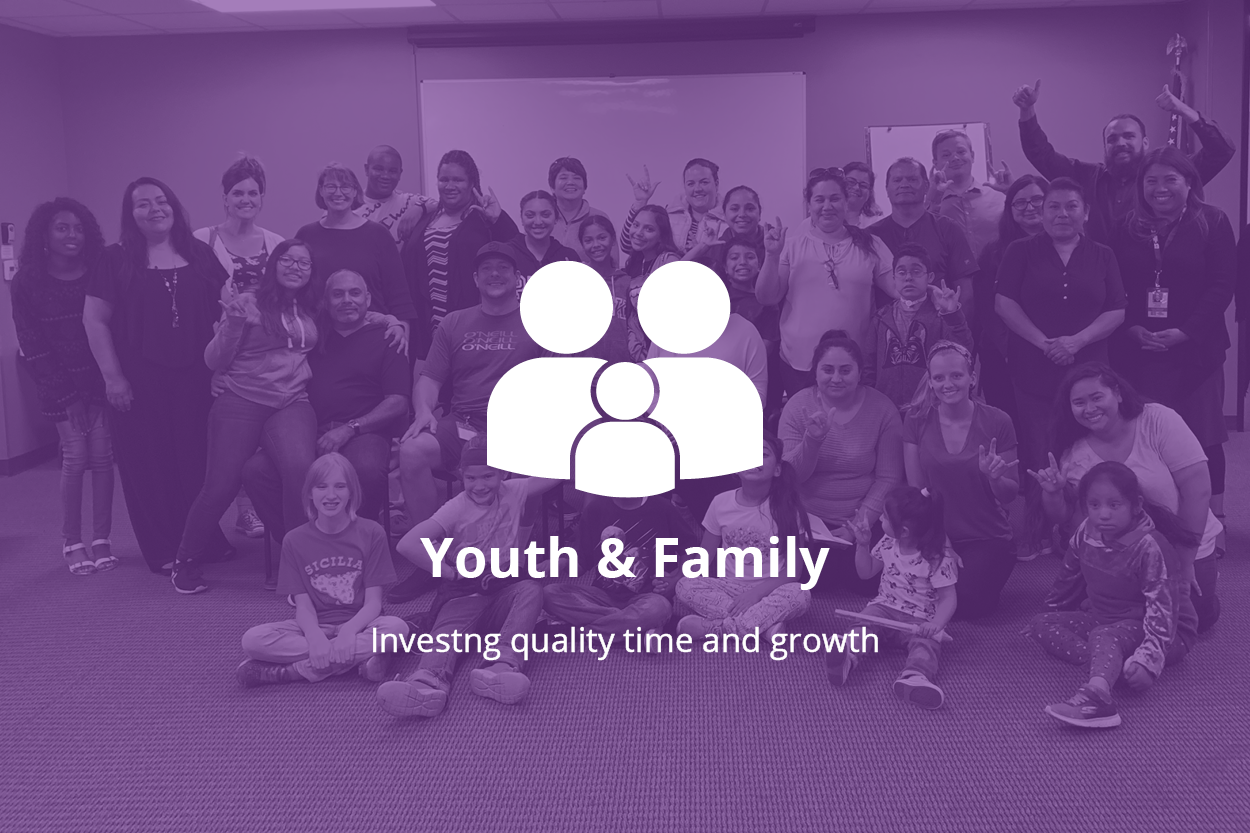 Background photo of a group of people, looking at the camera and smiling. Forefront: logo of two adult figures and one child figure. Text: Youth & Family, investing quality time and growth.