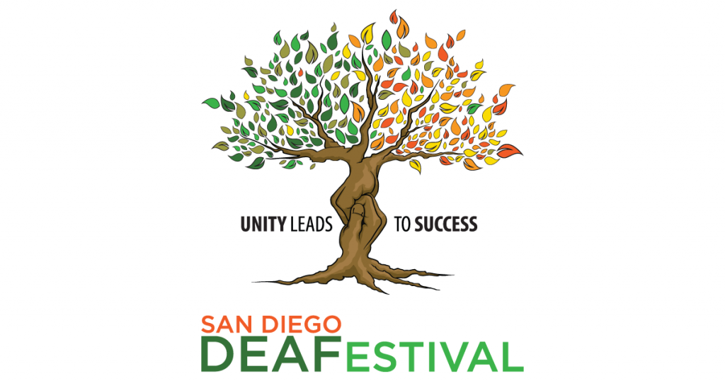 Background: white; image of tree: mostly few green tone leaves on the left side of the tree; Mostly red, orange and yellow leaves on the right side of the tree; brown trunk shaped into 2 hands holding; black text: Unity Leads to Success; below the image text: San Diego DEAFestival